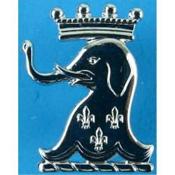 1/15th Royal New South Wales Lancers - Australia FL - Elephant Head  Chrome-plated Other Ranks' collar badge