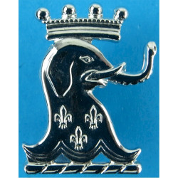 1/15th Royal New South Wales Lancers - Australia FR - Elephant Head  Chrome-plated Other Ranks' collar badge
