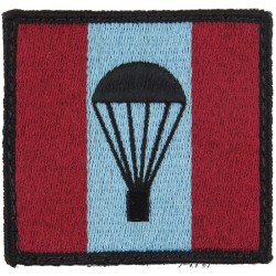 Army Parachute Jump Instructor (Light-Bulb On Maroon Blue/Maroon Square)  Embroidered Parachute DZ (Drop-Zone) Patch