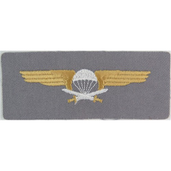 Finland 1st Class Parachute Wings On Grey Rectangle  Embroidered Parachute jump wings or badge