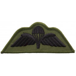 UK Army Parachute Wings - Subdued Black On Olive Green  Embroidered Parachute jump wings or badge