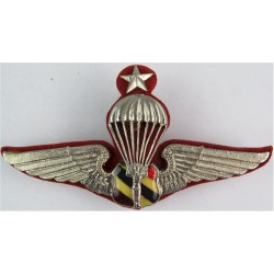 Thailand Border Patrol Police Senior Parachute Wings With Maroon Backing  Chrome and enamelled Parachute jump wings or badge
