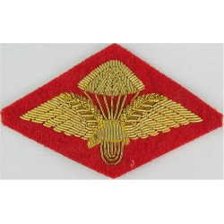 Ethiopian Basic Parachute Wings Gold On Red Diamond  Bullion wire-embroidered Parachute jump wings or badge