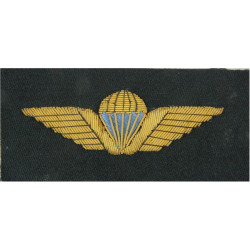 Danish Navy Parachute Wings         - Gold & Blue On Black Rectangle  Bullion wire-embroidered Parachute jump wings or badge
