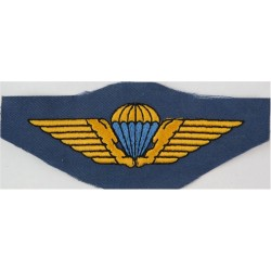 Danish Air Force Parachute Wings  - Yellow & Blue On Mid-Blue  Embroidered Parachute jump wings or badge