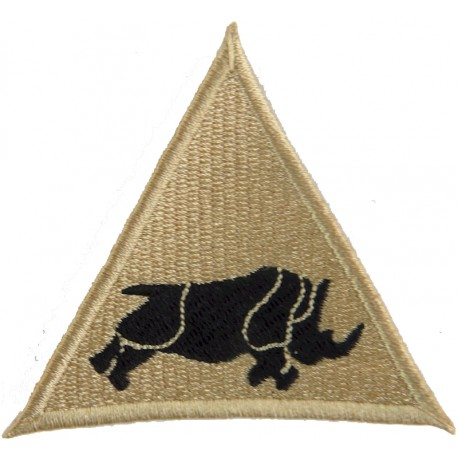 1 (UK) Armoured Division (Charging Rhino In Triangle Black On Sand Desert  Embroidered Military Formation arm badge