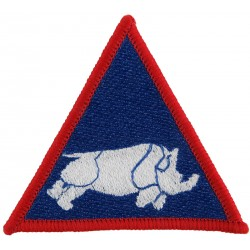 1 (UK) Armoured Division (Charging Rhino In Triangle White On Blue  Embroidered Military Formation arm badge