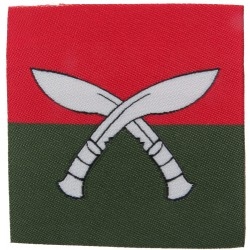 British Gurkhas Nepal - White Crossed Kukris On Red / Green Square  Woven Military Formation arm badge