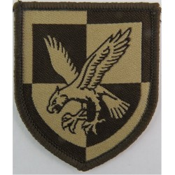 16 Air Assault Brigade - Eagle On Quartered Shield Dark Brown On Sand  Woven Military Formation arm badge