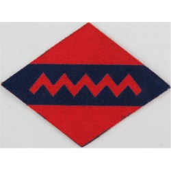1st Canadian Army Group Royal Artillery Zig-Zag On Blue/ Red  Printed Military Formation arm badge