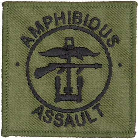 1 Assault Group Royal Marines (Amphibious Assault) Black On Olive  Embroidered Military Formation arm badge