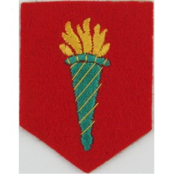 Irish Army Military College (Flaming Torch On Red Shield)  Embroidered Military Formation arm badge
