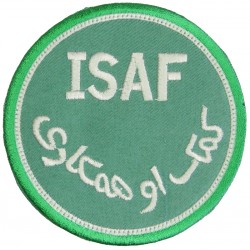 International Security Assistance Force Afghanistan ISAF White/Lt-Green  Embroidered Military Formation arm badge