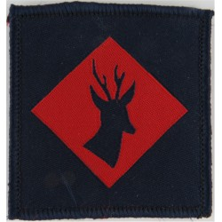 145 (Home Counties) Brigade:Blue Stag's Head FR Red Diamond On Blue  Woven Military Formation arm badge