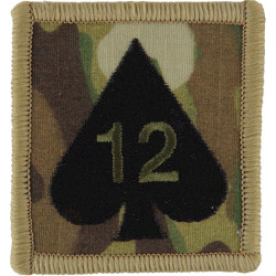 12 Mechanized Brigade - 12 On Ace Of Spades On MTP Camouflage  Embroidered Military Formation arm badge