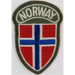 Arm-Badge - Norway ('Norway' Over Shield) Colour On Olive  Embroidered United Nations insignia