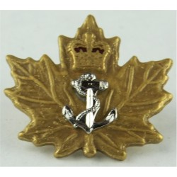 Canadian Cadet Instructors Cadre Navy Officer Collar Badge with Queen Elizabeth's Crown. Gilt, silver-plated and enamelled Cadet