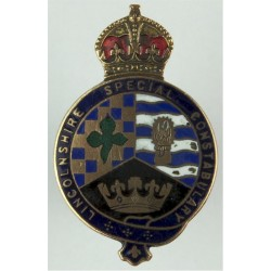 Lincolnshire Special Constabulary Buttonhole Badge WW1 with King's Crown. Brass and enamel Lapel or sweet-heart badge