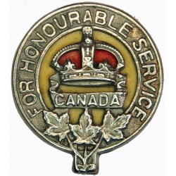 Canada For Honourable Service CEF WW1 Class C Badge Serial Number 77864 with King's Crown. White Metal and enamel Lapel or sweet