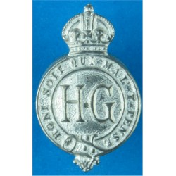 Home Guard (Crown Over Garter Strap Containing HG) Buttonhole Badge with King's Crown. White Metal Lapel or sweet-heart badge