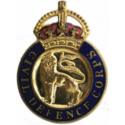 Civil Defence Corps - English Lion - Male Issue Buttonhole Fitting with King's Crown. Enamel Lapel or sweet-heart badge