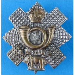 Highland Light Infantry Brooch-Pin Fitting with King's Crown. Bi-metallic Lapel or sweet-heart badge