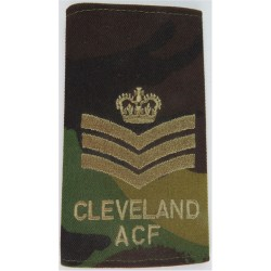 Cleveland ACF Staff Sergeant Rank Slide Brown On DPM Camo with Queen Elizabeth's Crown. Embroidered NCO or Officer Cadet rank ba
