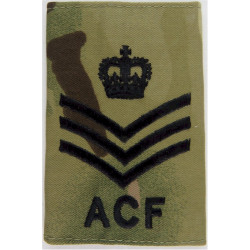ACF Staff Sergeant SSI (Army Cadet Force) Black On MTP Camo with Queen Elizabeth's Crown. Embroidered NCO or Officer Cadet rank