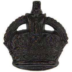 Colour Serjeant's Rank Crown - Rifle Regts & Gurkhas Black with King's Crown. Brass NCO or Officer Cadet rank badge