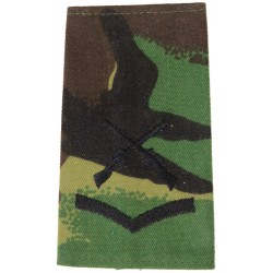 Lance-Corporal + Crossed Rifles Black On DPM Camo  Embroidered NCO or Officer Cadet rank badge