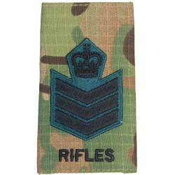 Colour Serjeant (The Rifles) MTP Camo Rank Slide with Queen Elizabeth's Crown. Embroidered NCO or Officer Cadet rank badge