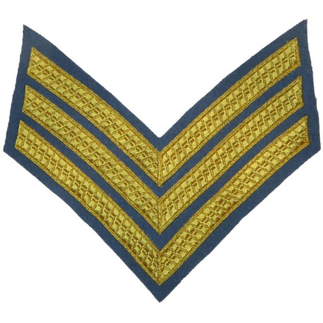 Sergeant's Rank Stripes - Army Air Corps No.1 Dress Gold On Sky Blue  Bullion wire-embroidered NCO or Officer Cadet rank badge