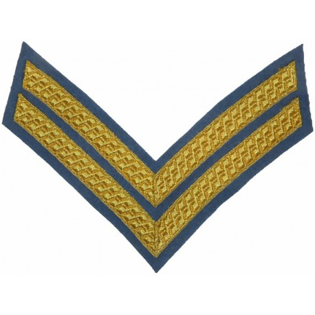 Corporal's Rank Stripes - Army Air Corps No.1 Dress Gold On Sky Blue  Bullion wire-embroidered NCO or Officer Cadet rank badge