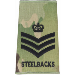 Colour Sergeant Royal Anglian Regt 3rd Bn Steelbacks MTP Camo Rank Slide with Queen Elizabeth's Crown. Embroidered NCO or Office