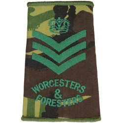 Colour Sergeant Worcesters & Foresters DPM Rank Slide with Queen Elizabeth's Crown. Embroidered NCO or Officer Cadet rank badge