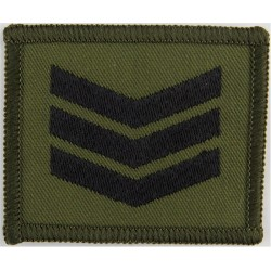Sergeant's Rank Badge For DPM Combat Jacket Black On Olive Green  Embroidered NCO or Officer Cadet rank badge