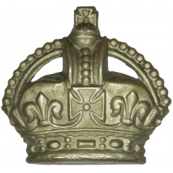 Colour Sergeant's Rank Crown - Volunteers 1902-1908 with King's Crown. White Metal NCO or Officer Cadet rank badge
