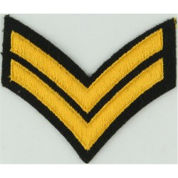 Corporal (2 Chevrons) - Canada Yellow On Dark Green  Embroidered NCO or Officer Cadet rank badge
