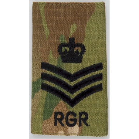 Colour Sergeant RGR  (Royal Gurkha Rifles) Black On MTP Camo with Queen Elizabeth's Crown. Embroidered NCO or Officer Cadet rank