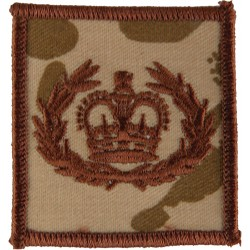 WO2 (RQMS) Rank Badge On Rectangle Brown On Desert Camo with Queen Elizabeth's Crown. Embroidered Warrant Officer rank badge