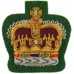 WO2 Rank Badge (Crown) - Int Corps - Mess Dress On Cypress Green with Queen Elizabeth's Crown. Bullion wire-embroidered Warrant