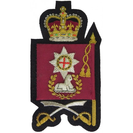Drill Sergeant's Arm Badge - Coldstream Guards Full Size Flag with Queen Elizabeth's Crown. Bullion wire-embroidered Warrant Off