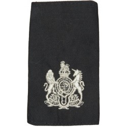 WO1 (RSM) 11 EOD Regt RLC (Bomb Disposal) Silver On Black with Queen Elizabeth's Crown. Lurex Warrant Officer rank badge