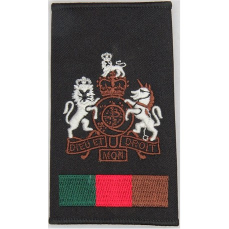 WO1 (RSM) Royal Tank Regiment For Right Shoulder with Queen Elizabeth's Crown. Embroidered Warrant Officer rank badge
