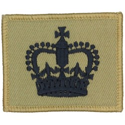 WO2 Rank Badge On Small Rectangle Black On Sand with Queen Elizabeth's Crown. Embroidered Warrant Officer rank badge