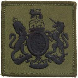 WO1 Rank Badge For DPM Combat Jacket Black On Olive Green with Queen Elizabeth's Crown. Embroidered Warrant Officer rank badge