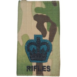 WO2 (Crown Only) The Rifles MTP Camo Rank Slide with Queen Elizabeth's Crown. Embroidered Warrant Officer rank badge