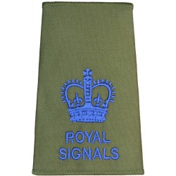 WO2 (Crown Only) - Royal / Signals Blue On Olive Green with Queen Elizabeth's Crown. Embroidered Warrant Officer rank badge