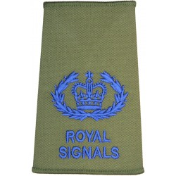 WO2 (RQMS) - Royal / Signals Blue On Olive Green with Queen Elizabeth's Crown. Embroidered Warrant Officer rank badge
