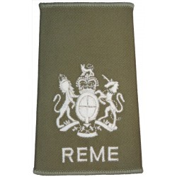 WO1 (RSM) REME Cream On Light Olive with Queen Elizabeth's Crown. Embroidered Warrant Officer rank badge